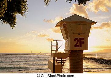 A Lifeguard Station On Waikiki Beach In Hawaii At Sunset