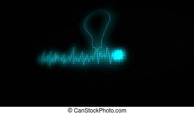 A light bulb on an electrical chart. Concept of the idea -...