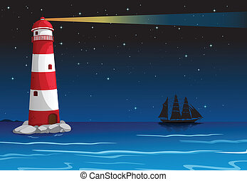 A lighthouse in the middle of the ocean