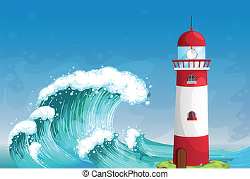 A lighthouse in the middle of the sea with high waves -...