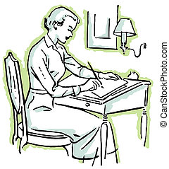 A line drawing of a woman at a writing desk