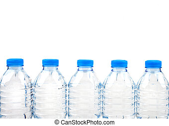 A Line of Bottled Water over a white background.