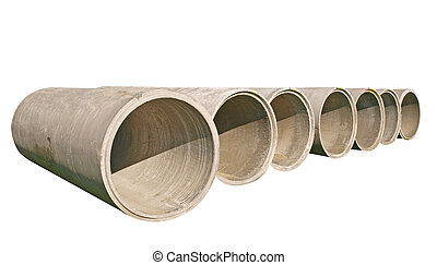 A Line of Concrete Pipes isolated with clipping path