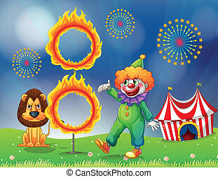 A lion and a clown performing