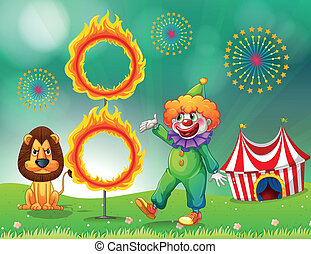 A lion and a clown with a ring of fire