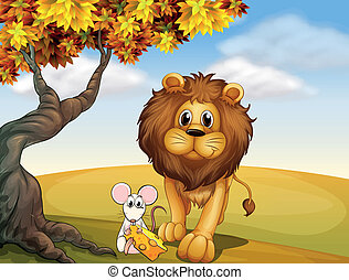 A lion and a mouse
