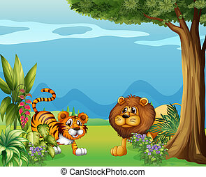 A lion and a tiger near the hills