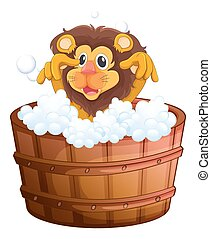 A lion at the bathtub