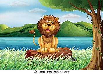 A lion at the riverbank - Illustration of a lion at the...