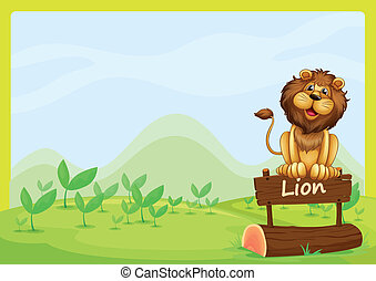 A lion at the top of a wooden signboard