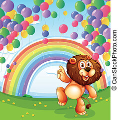 A lion below the floating balloons with a rainbow