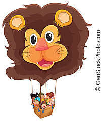A lion floating balloon with kids