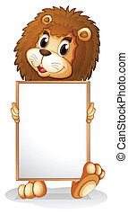 A lion holding an empty bulletin board - Illustration of a ...
