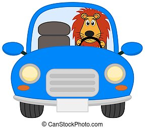 a lion in a blue car