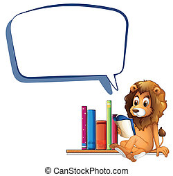 A lion in the library with an empty callout