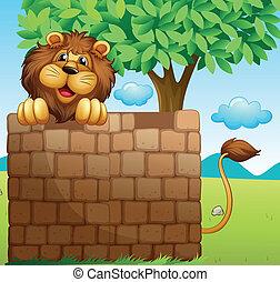 Illustration of a lion inside a pile of bricks