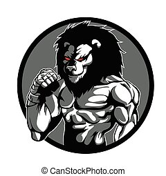 A lion man character MMA fighter pose