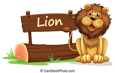 A lion near a wooden signage