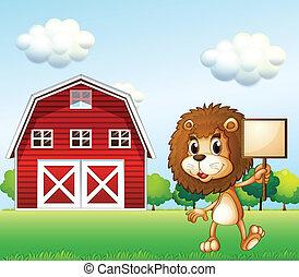 A lion near the barn holding an empty signboard