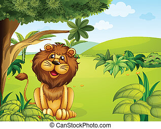 A lion near the big tree