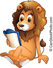 A lion reading a book - Illustration of a lion reading a...