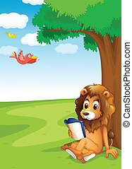 A lion reading under the tree