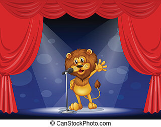 A lion singing at the center of the stage - Illustration of...