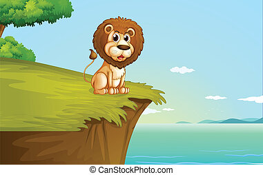 A lion sitting at the cliff
