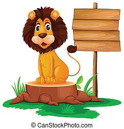 A lion sitting on a stump beside a wooden signboard