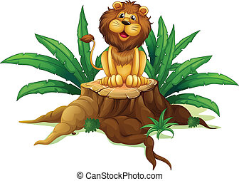 A lion sitting on a stump with leaves