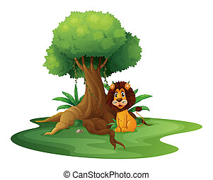 A lion sitting under the big tree