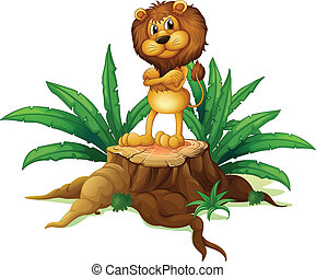 A lion standing above the wood
