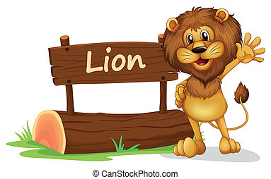 A lion standing beside a wooden signage