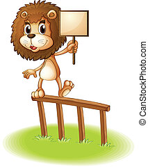 A lion standing on a wooden fence holding an empty signboard