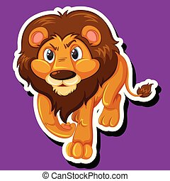 A lion sticker character