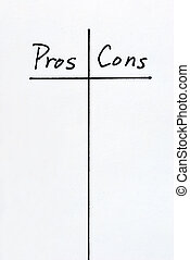 A list of Pros and Cons arguments