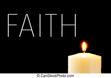 a lit candle and the word faith