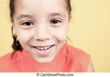 A Little african american boy, isolated on white background