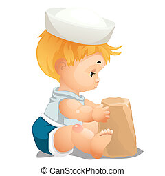 A little baby is building a fortress of sand isolated on white background. Educational activities in kindergarten and creativity. Vector cartoon close-up illustration.