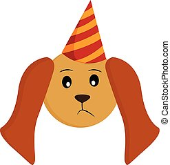 A little birthday dog vector or color illustration