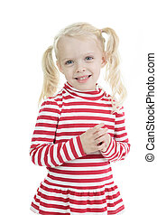 A Little blond girl isolated on white background