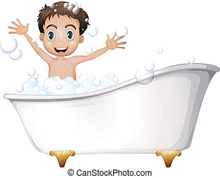 A little boy at the bathtub - Illustration of a little boy...