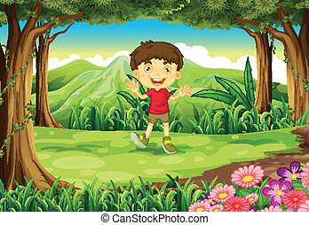 A little boy at the woods