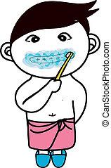 A little boy brushing his teeth