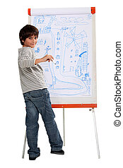 a little boy drawing on a whiteboard
