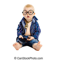 little boy in a tie and glasses on a white background