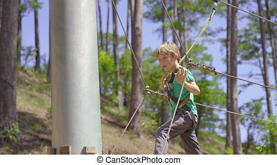 A little boy in an adventure park. He wears a safety harness. He climbs on a high rope trail. Outdoor amusement center with climbing activities consisting of zip lines and all sorts of obstacles.