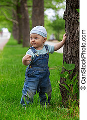 A little boy in the park