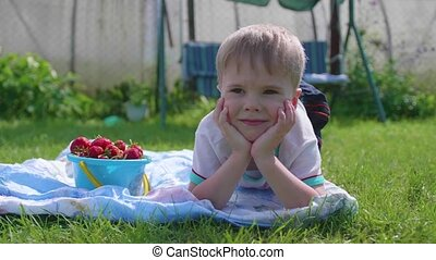 A little boy lying on the lawn on a hot summer day. The child is fun and active to spend their leisure time. Happy childhood