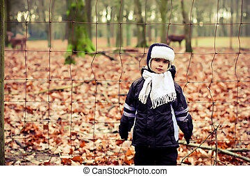 a little boy on a walk in the park
